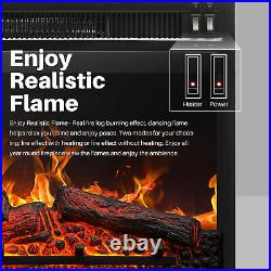 23 1400W Embedded Fireplace Electric Insert Heater Indoor Energy Saving, Black