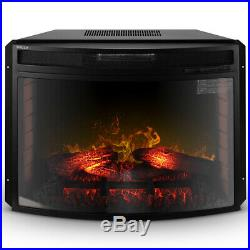 28-Inch Freestanding Electric Fireplace Stove Heater with Remote Control, Black