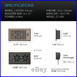 AIRTAP T6, Quiet Register Booster Fan, Heating / Cooling 6 x 12 Registers Brown