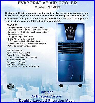 Evaporative Air Cooler & Cleaner, Portable Mini Cooling Conditioner Ionizer Fan
